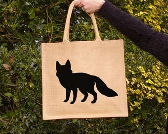 Fox silhouette hand painted jute shopping bag- large. Burlap gift bag, hessian foxy tote bag, fox silhouette. Fox design gift. Bag for life.