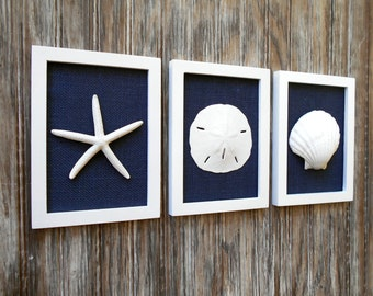 Cottage Chic Set of Beach Wall Art, Beach House Decor, Navy, Wall Art, Beach Decor, Nautical Decor, Coastal Decor, Coastal Art, Navy Blue