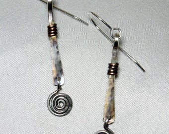 Silver Hammered Stick Earrings with Spirals