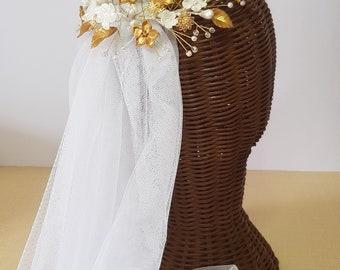 Headdress Swarovski pearl, wedding headpiece, headdress cold and swim porcelain, beads and Swarovski
