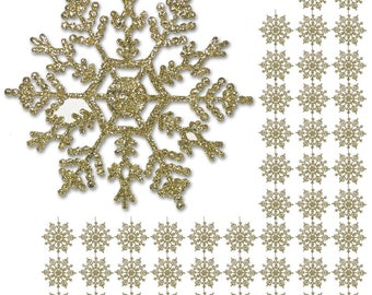 """Gold Snowflake - 48 Pack of 4"""" Glitter Gold Snowflake Ornaments - Shatterproof Christmas Ornaments with Silver Cords - Snowflakes  3543"""
