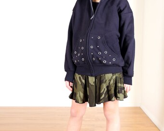 Punk Rock Kids' Studded Knit Fleece Children's Hoodie