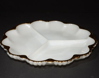 Vintage FIRE KING, White, 22 K Gold Trim, Anchor Hocking, 3 Parts, Divided Relish Dish Tray Serving Dish Milk Glass, Divided Plate