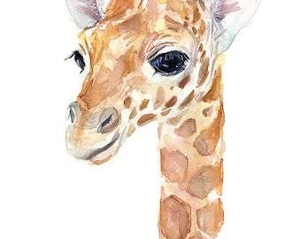Giraffe Baby Animal Watercolor, Art Print, Nursery Decor, Giraffe Print, Zoo Animal Portrait, Giclee