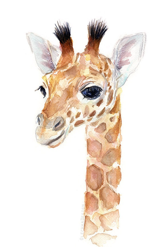 Giraffe Baby Animal Watercolor Art Print Nursery Decor