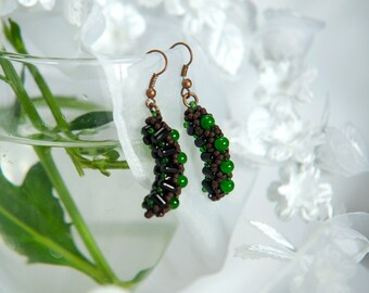 Beaded drop earrings | Copper earrings | Beadwoven earrings | Gift for girlfriend, wife, sister, daughter, mother, friend