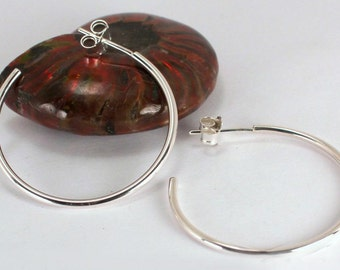 Medium Polished Hoops with Posts, Sterling Silver, Made to Order