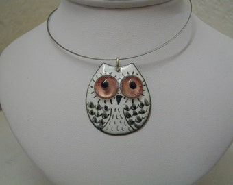 French handicraft, Owl pendant black and white, enamels on copper.