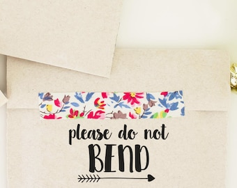 Please Do Not Bend Rubber Stamp, Shop Packaging Rubber Stamp, Shop Branding Stamp, Mail Rubber Stamp, Snail Mail Stamp, Photographer Stamp