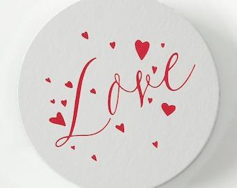 LOVE w/ HEARTS Coasters – Wedding Coasters, Wedding Favors, Wedding Decor, Valentines Day Decor, Valentines Day Gift, Reception Decorations