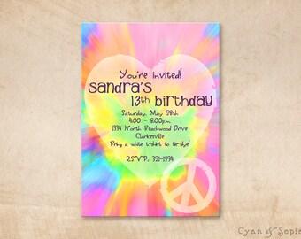 Printable Birthday Invitation - 4.25 x 5.5, 4x6, 5x7 - Tie-dye Love and Peace - Rainbow Kids Childrens Summer Bright Hippie Heart Peace Sign