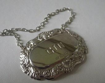 Vintage Sterling Silver Gin Bottle Label Tag