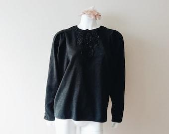 Vintage black blouse   vintage black rose brocade floral lace design long sleeve blouse
