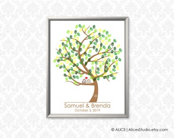 Wedding Tree Guest Book Alternative Poster - Love Birds - Fingerprints & Signatures - Canvas, Paper or Digital Printable - Wedding Registry