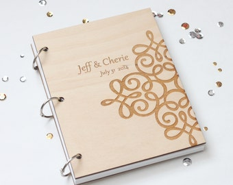 Custom wood 6'X8' wedding guest book with names and flourish engraved