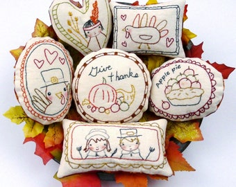 Give Thanks Ornaments embroidery Pattern PDF - turkey prim stitchery primitive ornies pilgrim bowl fillers