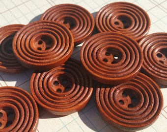 "Wood Buttons - Circles Pattern Wooden Button - Sewing Crochet Knitting - 1"" Wide"