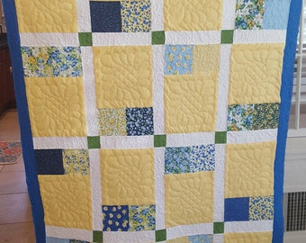 Baby Girl Quilt, Blue and Yellow Quilt, Toddler Quilt, Nursery Quilt,  Floral Quilt, Spring Quilt, Lap Quilt, Baby Quilt, Quilt Shop