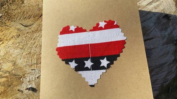 Customizable Handmade Heart Card/Fabric Scrap Heart Card/Handmade Patriotic Card Handmade Greeting Card/Blank Heart Card Valentines Day Card