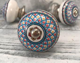 Decorative Tomato Pull Knobs Craft Supply Knob, Round Ceramic Hand Painted Floral Design Dresser Drawer Pull, Cabinet Knobs, Item #538639097
