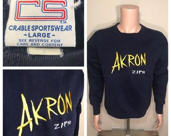 Vintage University of Akron sweatshirt // go zips // ak rowdy // adult size medium large // made in usa // college university Zippy // retro