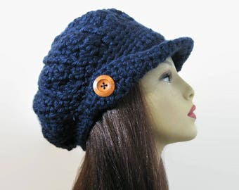 Crochet Newsboy Hat Dark Blue Newsboy Hat Navy Hat with Visor Adult Newsboy Crochet Womens Newsboy Hat with Visor Dark Blue Hat with brim