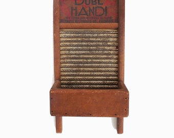Vintage washboard with rare attached bin, travel size, Columbus Washboard Co., Dubl Handi, Farmhouse chic, wall planter, rugged retro,