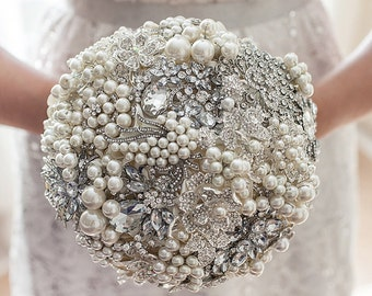 READY TO SHIP Brooch Bouquet Wedding Bouquet ivory bouquet silver bouquet broach bouquet, bridal bouquet crystal bouquet pearls bouquet