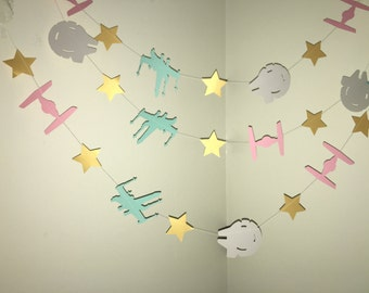 STAR WARS Inspired Birthday Party Decorations Star Wars Garland Tie Fighter Star  Wars Party Decor Star