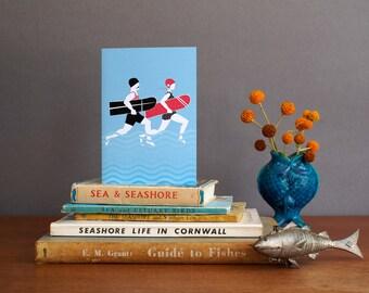 Surf card, surf Greeting Card, Vintage Surf by Alison Bick,  surfing card, wedding surf card, bellyboard card, surf cornwall card