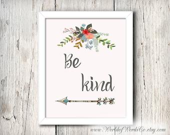 Be Kind, Cinderella, Baby Girl Nursery, Wall art, Arrow, Flower Art, Inspirational, Digital Print, Disney, 8 X 10, Art Typography