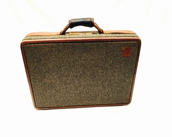 Hartmann briefcase, Belting leather, Tweed briefcase, Tan briefcase, Leather briefcase, Tweed Attache, Combination Lock, Hartmann luggage
