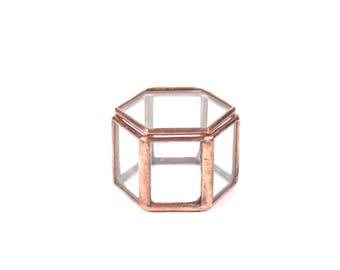Ring Bearer Box, Ring Bearer, Wedding Ring Box, Ring Box, Glass Ring Box, Glass Ring, Geometric Ring Box, Glass Jewelry Box, Copper Ring Box