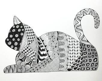 Cat Zentangle Art Print