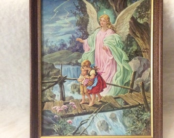 Vintage Guardian Angel on Bridge with children print. Excellent. Free ship to US