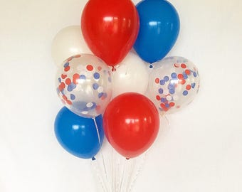 Red White Blue Latex Balloons 4th of July Balloons America Party Military Balloons Military Homecoming Confetti Balloons BBQ decor 4th