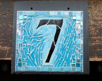 Mosaic House Number on Square Slate 1 Digit