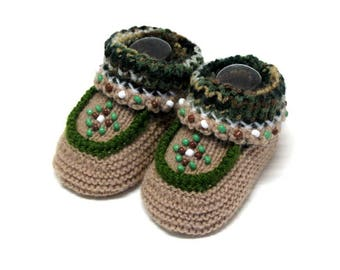 Knitted Beaded Camo Moccasins