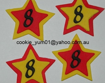 12 edible NUMBER or LETTER STAR cupcake cake topper decorations baby shower wedding birthday engagement anniversary cute africa jungle