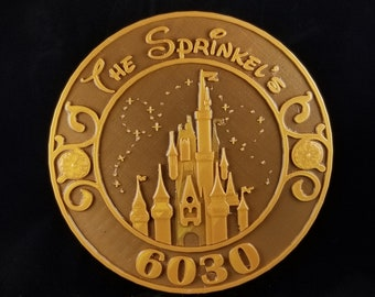 Personalized DW Magic Kingdom Inspired Address Plaque / Sign  - Dual Color ( Disney Home Decor Prop Inspired Replica )