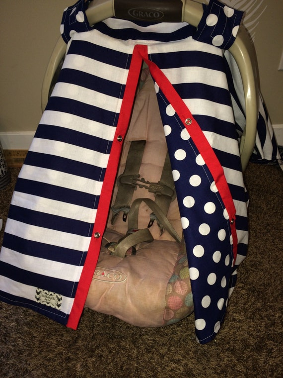 Carseat Canopy UNISEX Navy and Red  / Car seat cover / car seat canopy / carseat cover / carseat canopy / nursing cover