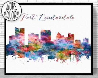 Fort Lauderdale Skyline Fort Lauderdale Print Fort Lauderdale Art Office Decor Office Art Skyline Art ArtPrintZone