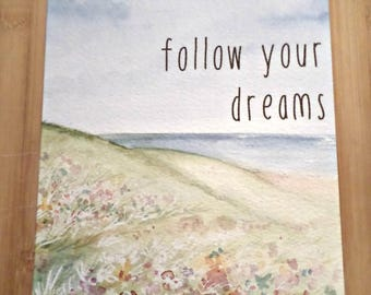 Double-sided - Follow your Dreams - original design greeting card