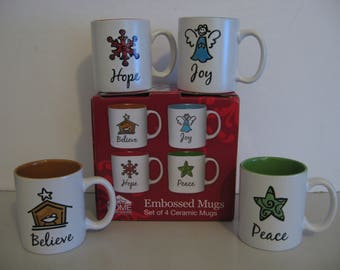 Home Expressions - Embossed Mugs - Set of 4 - Believe, Joy, Hope and Peace