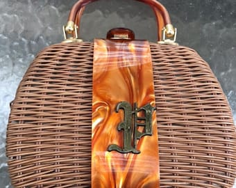 Vintage Brown Wicker Handbag with Lucite Hardware