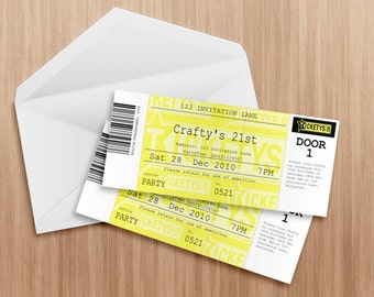 Entry ticket invitation - Editable and printable PDF