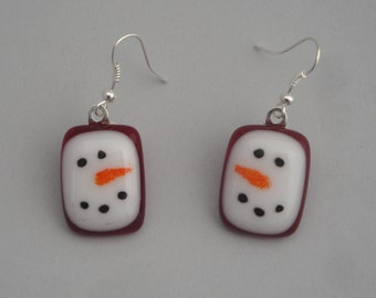 Fused Glass Snowman Earrings - BHS03770