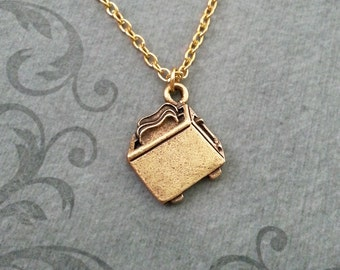 Toaster Necklace VERY SMALL Toaster Jewelry Toast Necklace Gold Pendant Necklace Breakfast Food Necklace Food Jewelry Breakfast Necklace