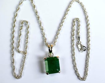 7-8 Carat Natural Octagon Cut Emerald 925 Sterling Silver Pendant with Chain
