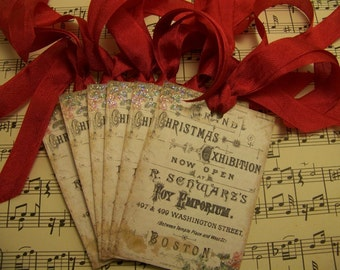 Christmas Tags Christmas Ornament Shabby Vintage Style Set of 6 or 9